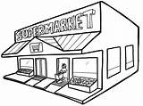 Coloring Grocery Pages Supermarket Drawing Shopping Building Children Clipart Popular Groceries Colors Clipartmag Doghousemusic sketch template