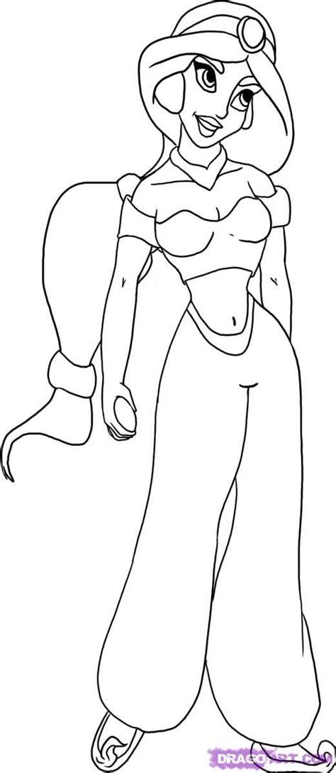 draw princess jasmine step  step disney