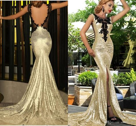 2016 Gold Sequins Mermaid Evening Dresses With Pluning ...
