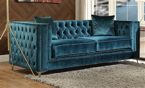 Teal Loveseat by Aegean Contemporary Teal Tufted Velvet Sofa