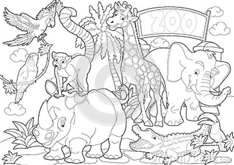 coloring page  zoo illustration   children royalty  stock  image
