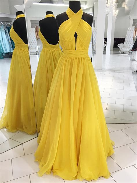 high neck backless yellow long prom dress