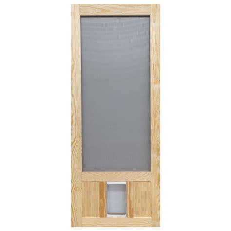 screen door with doggie door built in lowes shop screen tight chesapeake wood wood hinged screen door