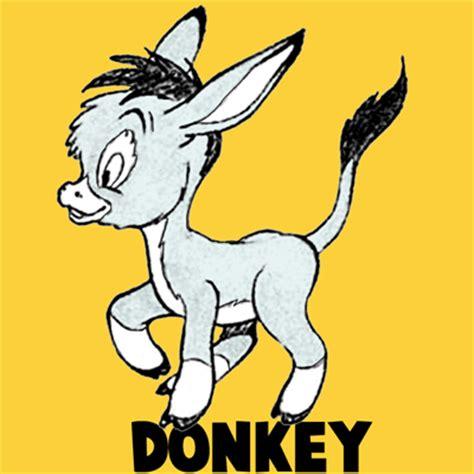 draw cartoon donkeys  mules  easy step  step