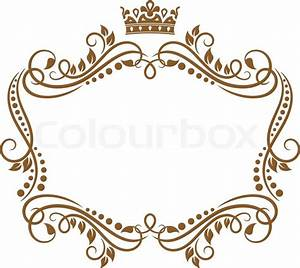 Retro frame with royal crown and flowers for wedding or