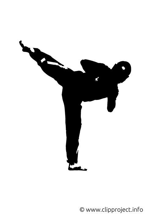 silhouette karate kick clipart image
