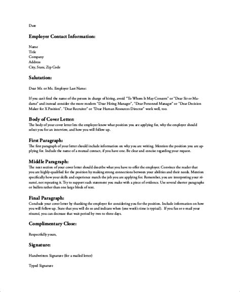 Resume Cover Letter Format by Sle Resume Cover Letter 8 Exles In Word Pdf