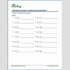 Grade 5 Math Worksheets Dividing Whole Numbers By Fractions  K5 Learning