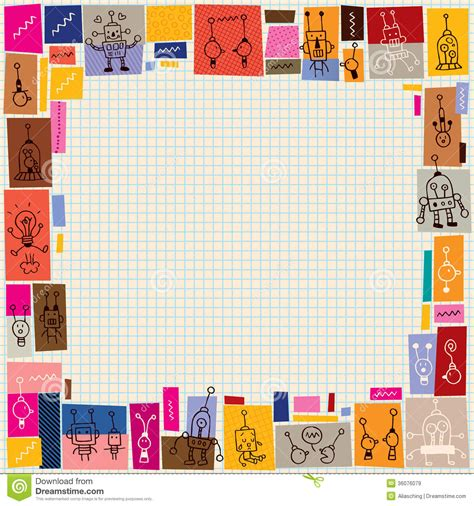 cute robots collage doodle border royalty  stock