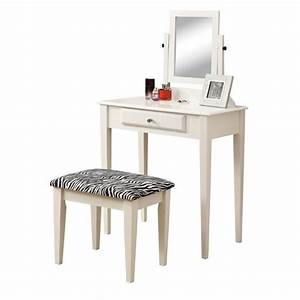 2 Piece Vanity Set With A Zebra Fabric Stool In White I 3390