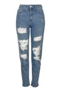moto blue super rip mom jeans jeans clothing topshop
