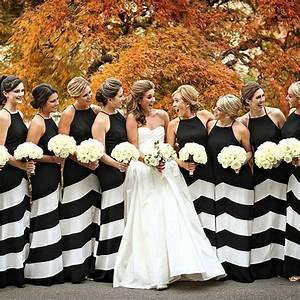 striped bridesmaid dresses modern black and white wedding With black and white striped wedding dress
