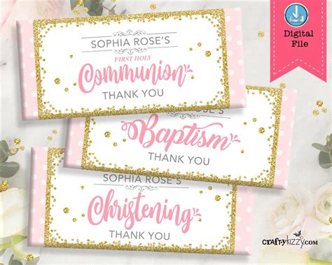 Pink and Gold Girl Baptism Invitation Girls Christening