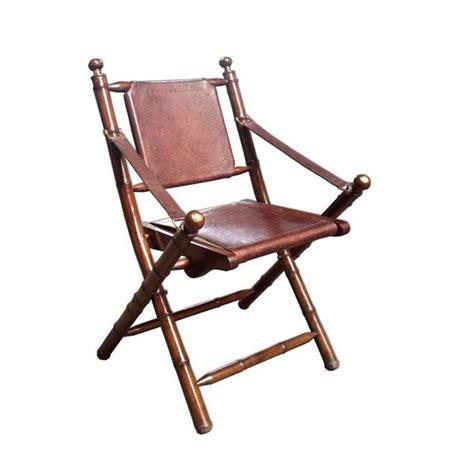 chaise pliante vintage en cuir et bambou achat vente chaise cuir bambou soldes d 233 t 233