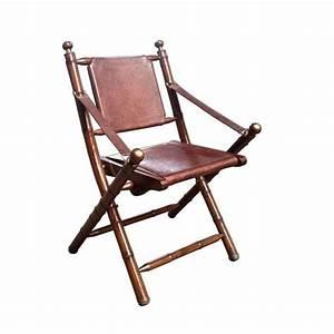 Chaise Vintage Cuir : chaise pliante vintage en cuir et bambou achat vente chaise cuir bambou les soldes sur ~ Teatrodelosmanantiales.com Idées de Décoration