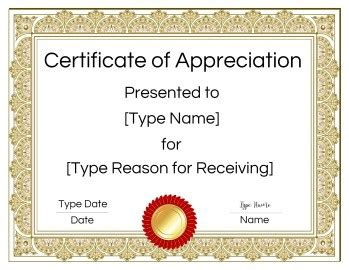printable certificate  appreciation template