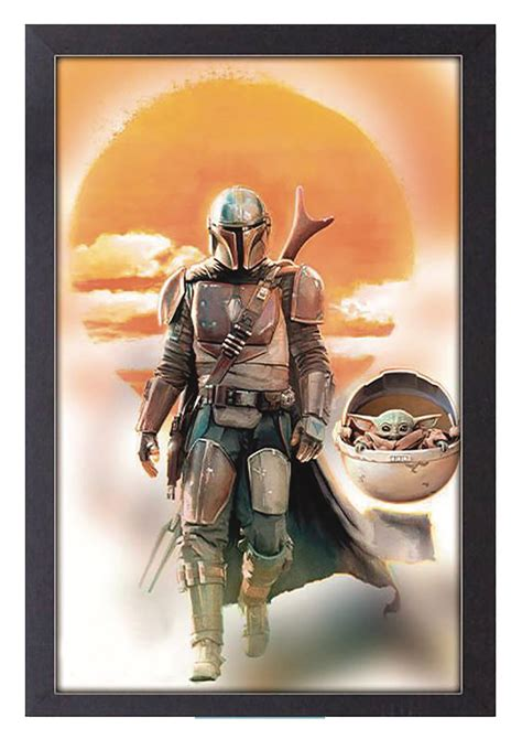 APR203101 - THE MANDALORIAN MANDO & BABY YODA 11X17 FRAMED ...