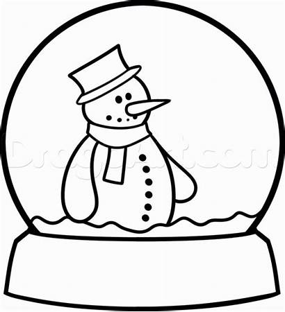 Globe Snow Draw Drawing Step Clipart Christmas