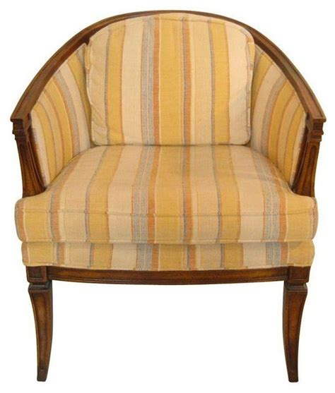 used vintage orange yellow striped barrel chair modern