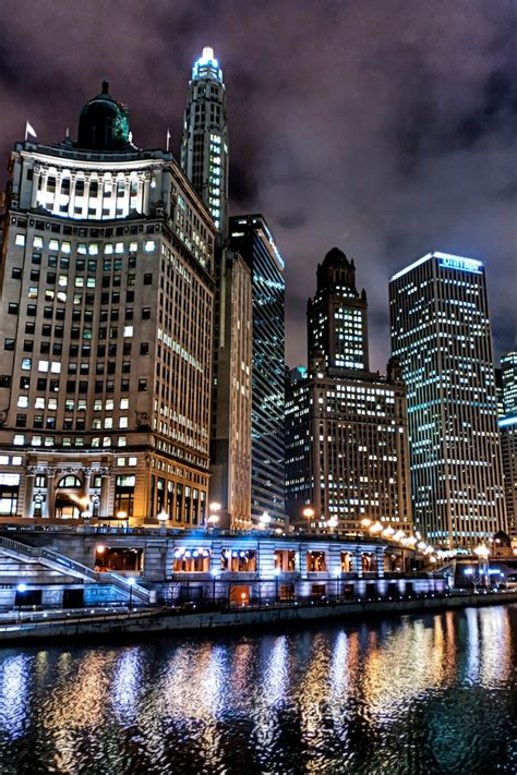 Chicago Night Lights Iphone 4s Wallpapers Free Download