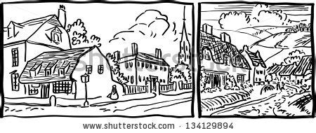 Royaltyfree Cartoon Hand Drawing Houses Frame #120326356