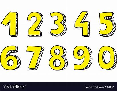 Yellow Numbers Vector Drawn Hand Isolated