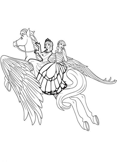 unicorn flying high barbie mariposa coloring pages bulk