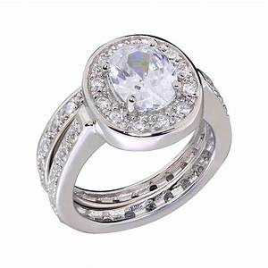 oval cz sterling silver w eternity band engagement wedding With engagement wedding and eternity ring sets
