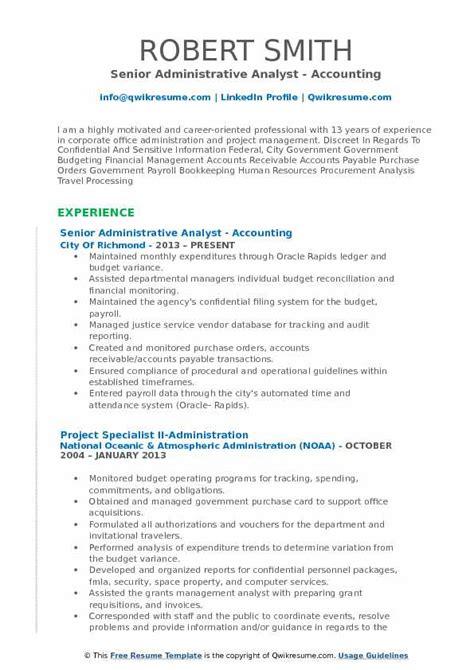 administrative analyst resume sles qwikresume