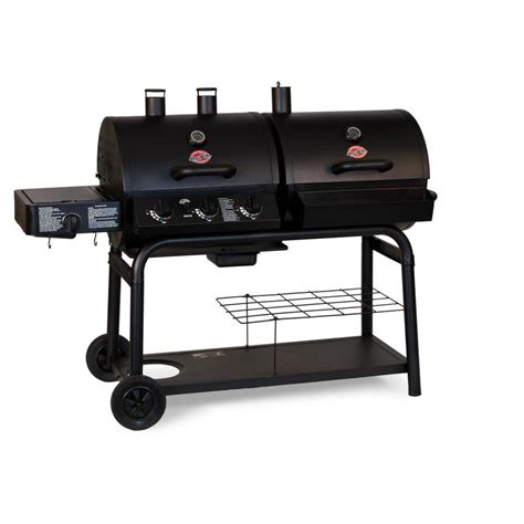 outdoor cooking area shop char griller duo gas and charcoal grill at lowes com