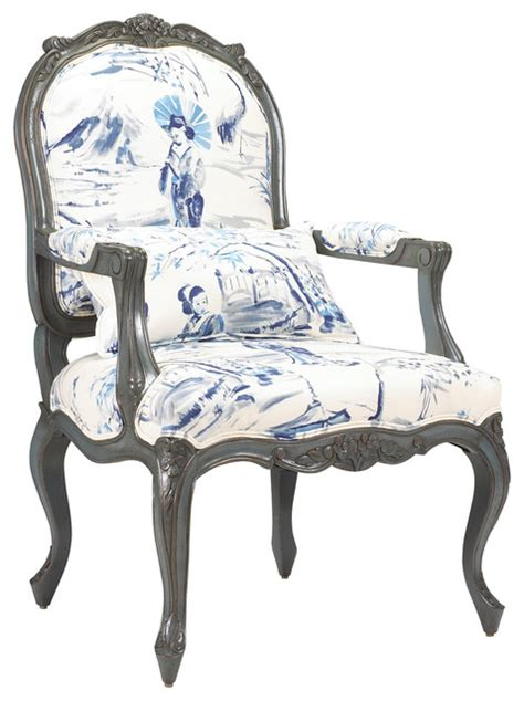 bayonne french country blue geisha upholstered arm chair