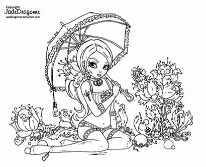 Lineart Deviantart Gothic Pinup Jadedragonne Coloring Pages