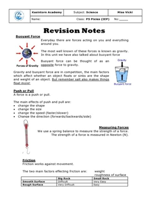 forces revision notes teaching ideas