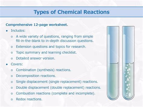 Types Of Chemical Reactions [worksheet] By Goodscienceworksheets  Teaching Resources Tes