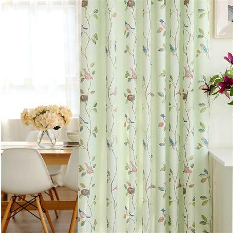 fresh light green bird leaf polyester nursery curtains