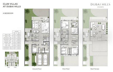 floor plans club villas dubai hills estate  emaar