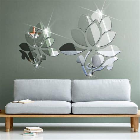 acrylic  diy mirror surface wall sticker  lotus