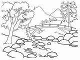 Coloring Pages Nature Drawing Summer Printable Colouring Landscape Para Rios Colorear Dibujos sketch template