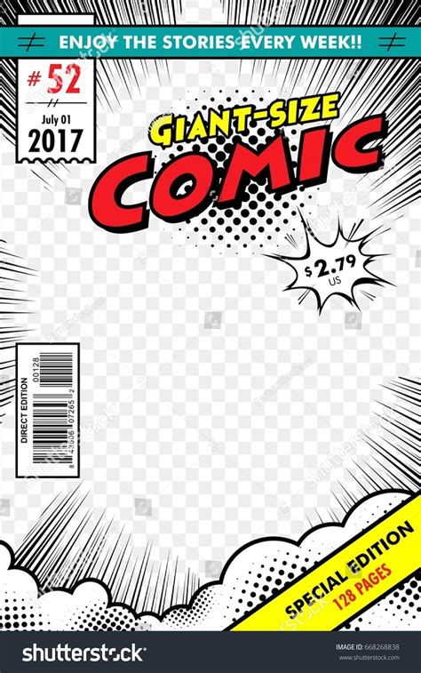 comic book cover giant size  transparent background