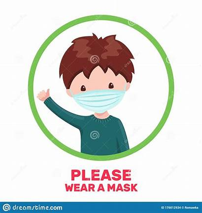 Mask Cartoon Boy Medical Isolated Poster Male