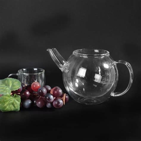 glass teapot filter best selling clear borosilicate glass teapot with cap and