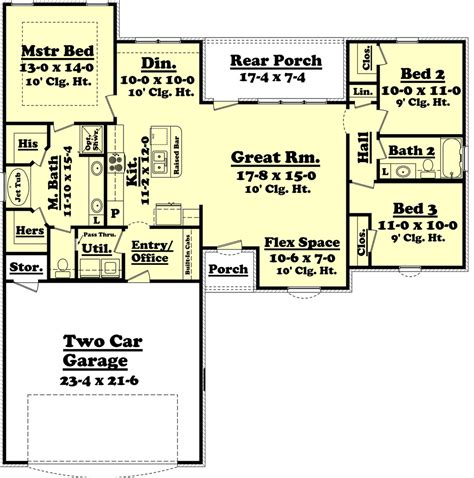 ranch style house plan 3 beds 2 baths 1500 sq ft plan
