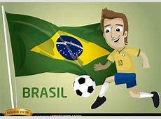 Descargar Vector Bandera De Brasil Fútbol Dibujos Animados