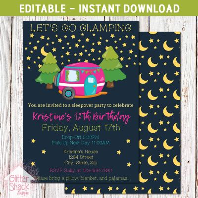 glamping party invitations party supplies  tweens
