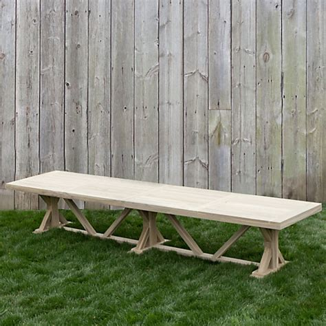 protected teak trestle dining table   outdoor living