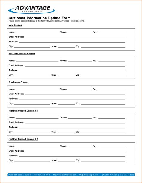 update contact information form template 13 customer information form template authorizationletters org