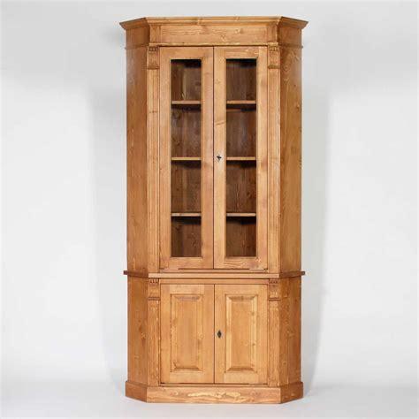 buffet d 39 angle bois massif ciré miel vitré 4 portes made