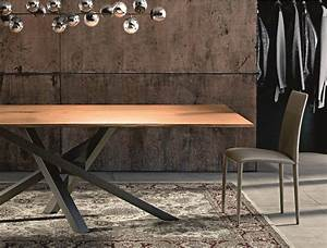 Table Pied Croisé : tavolo da pranzo rettangolare in acciaio inox e legno ~ Teatrodelosmanantiales.com Idées de Décoration