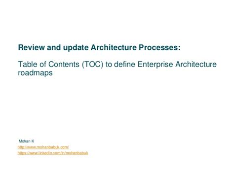 table of contents definition table of contents toc to define enterprise architecture