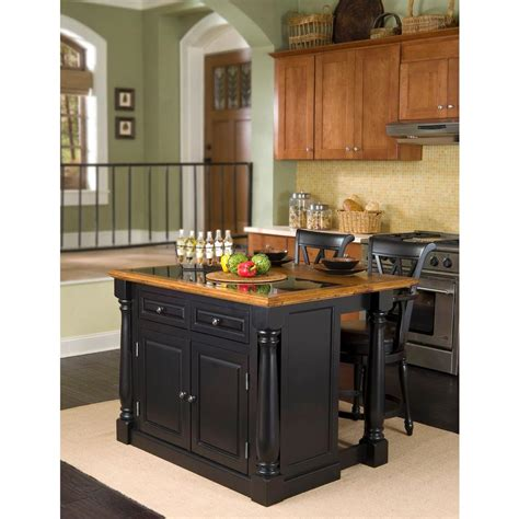 home styles monarch black kitchen island  seating    home depot